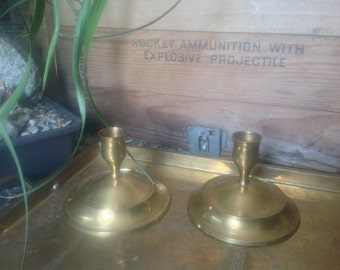 Brass short candlestick holders