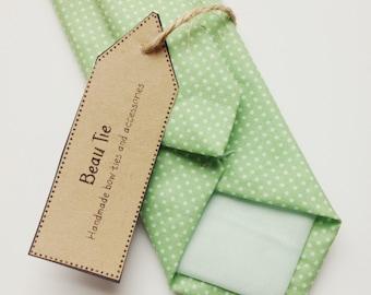 Mens skinny tie mint green, mint green skinny tie, polka dot skinny tie, cotton skinny tie, wedding tie
