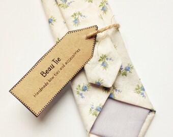 Floral tie, Mens skinny tie, wedding tie, mens ivory skinny tie, floral skinny tie, mens blue skinny tie, wedding tie
