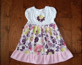 Dress on sale**Girls floral dress**Flowers, ruffle, pink and purple color**Spring Summer Fall dress**Size 3t ready to ship**Pat Bravo fabric