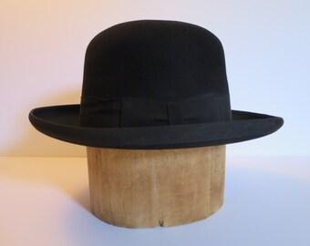 MEN'S BOWLER HAT, Felt fedora hat, Black, Vintage fashion hat, England, Women's hat, Hight fashion, Accessory, Father's day gift