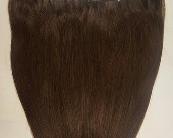 """20"""" Weft Hair, 100grs,Weft Weaving (Without Clips),100% Human Hair Extensions #2 Darkest Brown"""