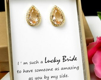 Champagne Jewelry Wedding Jewelry  Bridesmaid Jewelry Weddings Bridesmaid Earrings Bridesmaid Gift Bridal Earrings champagne gold yellow