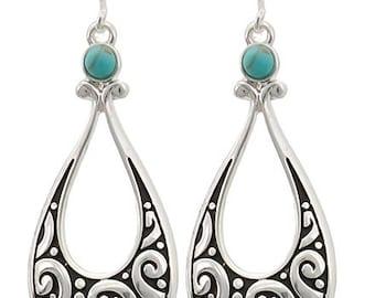 Antique Silvertone Drop Earrings, Teardrop Earrings, Turquoise Earrings,