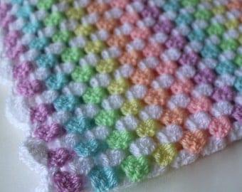 Crochet baby blanket, granny square blanket, rainbow, baby blanket, baby afghan, pram blanket, READY TO SHIP