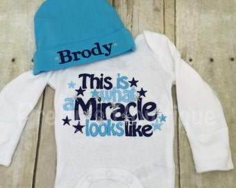Baby boy This is what a miracle looks like bodysuit. Perfect coming home outfit