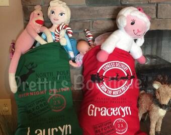 Personalized Christmas Sack – Santa Sack or Reindeer Sack with Child's Name