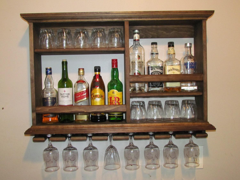Mini bar walnut stain liquor cabinet wine rack wall for Mini bar wall cabinet
