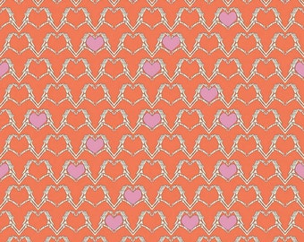 Zombie Love Heart Orange C4961-Orange by Emily Taylor for Riley Blake Fabrics