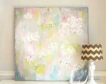 SALE: Large Abstract Floral Painting - Contemporary Art - Huge Abstract Art