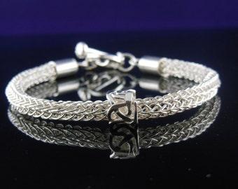 Exotic Viking Knit Bracelet with Slider Bead