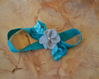 Aqua and Gray Baby Headband