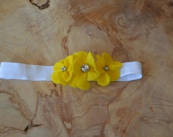 White and Yellow Flower Baby Headband