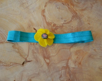 Yellow and Blue Flower Baby Headband