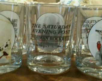 Set of 6 Norman Rockwell Glasses - Saturday Evening Post