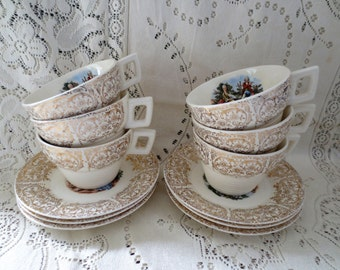 Set of 6 Vintage Teacups and Saucers. Victorian Scene, Romantic Alice in Wonderland Shabby Chic. Teacup Set, Gold Gilt China, Tea Party