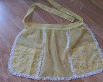 FREE SHIPPING Vintage Half Apron Yellow Chiffon Organza Pockets and Lace Super Cute Sissy Girly Girl Pin Up Rockabilly Clothing