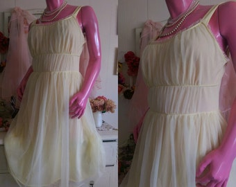 GREEK Grecian GODDESS Vintage Waltz Nightgown Lingerie Slip Dress Gown YELLOW Chiffon Nylon Size 36 (Medium) from Sweet Vintage Lingerie