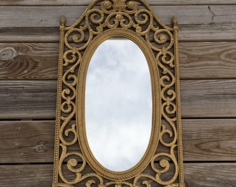vintage ornate gold mirror, large decorate mirror, syroco