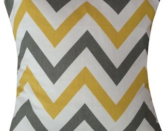 Designer retro grey yellow chevron zigzag pattern funky cushion cover