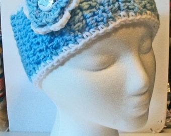 Trendy Light Blue and White Tarheels Inspired Hand Crocheted Headband Ear Warmer Child & Adult Sizes Available