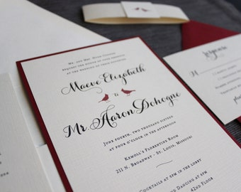 Cardinals Wedding Invitation - Double Layer with Printed Sash - Red, Champagne, Ivory