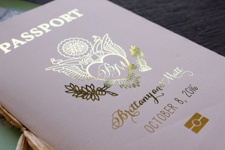 Blush Amp Mint Passport Wedding Invitation Gold Foil Cover