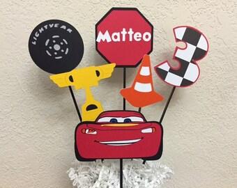 Cars Lighting McQueen Birthday Centerpiece, transportation centerpiece, Racing centerpiece, Mater Birthday