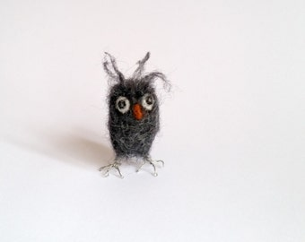Ginter the grumpy  needle felted owl, miniature quirky felt owl