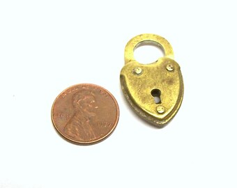 Heart Shaped Non Working Eagle Lock Co. Padlock Pendant.Charm
