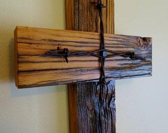 Salvaged Barn Wood Cross | Barbed Wire Cross | Vintage Barn Wood | Rustic Cross | Reclaimed Lumber