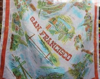 San Francisco Tourist  Scarf - 1970s- Lovely Vintage Souvenir - Vibrant graphics