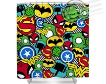 Unique kids shower curtain related items etsy for Superhero shower curtain
