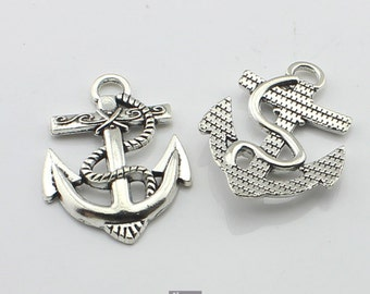 5pcs 28x40mm Antique Silver Anchor Charm Connector Pendants