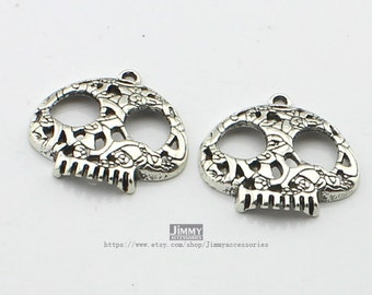 5pcs 27mm Antique Silver Skull Charm Pendant   Day of the Dead