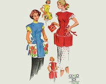 1950s Vintage Apron Pattern / McCalls 1713 Cobbler Apron Sewing Pattern with Transfers / Womens Sewing Patterns