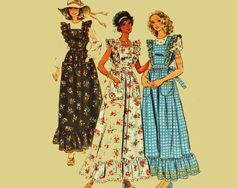 1970s Boho Maxi Dress Pattern / Simplicity 6218 Bust 34 / Vintage Womens Sewing Patterns / Ruffled Jumper & Blouse Hippie Dress Patterns