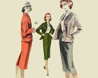 Vintage 50s Dress Patterns / Slim Pencil Skirt Pattern Cropped Jacket Pattern 1950s Skirt Suit Womens Sewing Patterns Bust 36 Butterick 7901