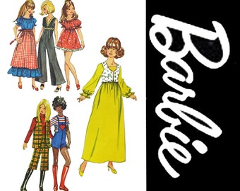 70s Barbie Doll Clothes Pattern / Simplicity 9054 Ken & Barbie Patterns / Fashion Doll Clothes Vintage Sewing Patterns / 11 1/2 Inch Doll