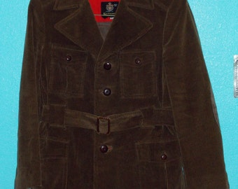 "60s70s Vintage ""Kaufmann's""  Men's Chocolate-Brown Corduroy Coat — Size 40"