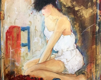 """Janet Treby """"Camisole"""" - Signed Serigraph - COA - See Live at GallArt - Buy/Sell/Trade"""