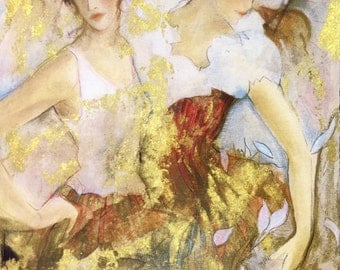 """Janet Treby """"Two Dancers"""" - Signed Serigraph - COA - See Live at GallArt - Buy/Sell/Trade"""