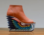 Wing - Hand Carved Wood Platform Wedge Heel