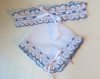 READY TO SHIP, Bridal Garter and Handkerchief, Blue Bridal Garter, Wedding Garter, Handmade Handkerchief, Crochet Garter, Cotton Crochet