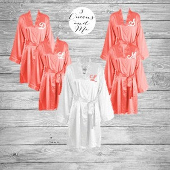 bridesmaid robes gowns, bride robe, wedding party robes, satin robe, kimono coral, white, navy, pink, teal with monogram and title