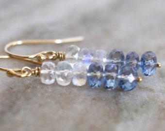 Mystic blue quartz earrings, moonstone earrings, gold fill ear wires, mystic blue quartz jewelry, jewelry gift for her, moonstone jewelry