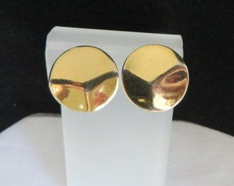 Napier Round Gold Tone Earrings, Vintage Dimpled Clip-ons
