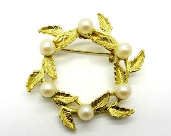 DuBarry Circle Brooch, Vintage Pearl Wreath Gold Tone Circle Pin