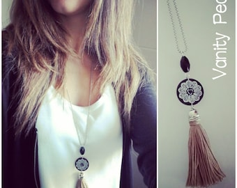With chain Tassel necklace-Lace Collection