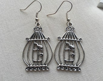 Birdcage Silver Earrings - Silver Charm Jewellery Summer Birdcage Gilded Cage Design Steampunk
